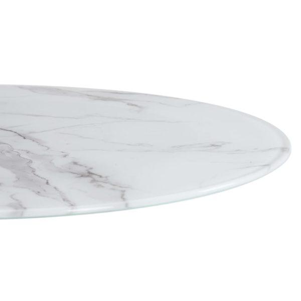 Tischplatte Weiß Ø50 cm Glas in Marmoroptik