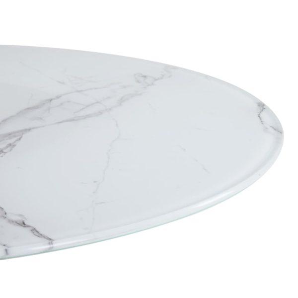 Tischplatte Weiß Ø90 cm Glas in Marmoroptik