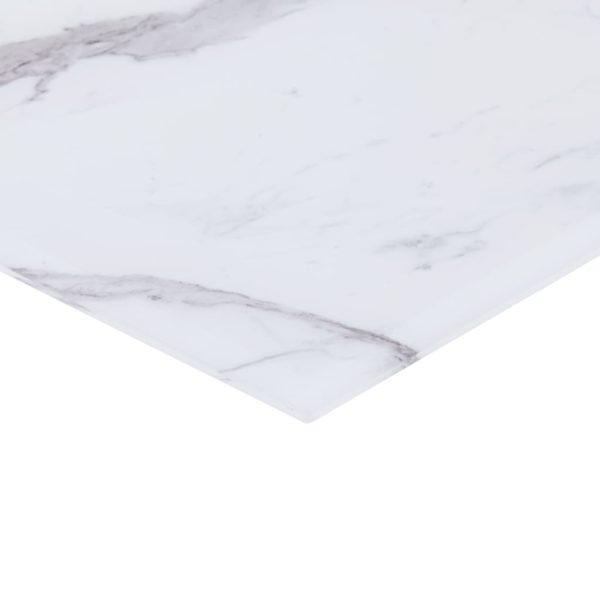 Tischplatte Weiß Quadratisch 70×70 cm Glas in Marmoroptik