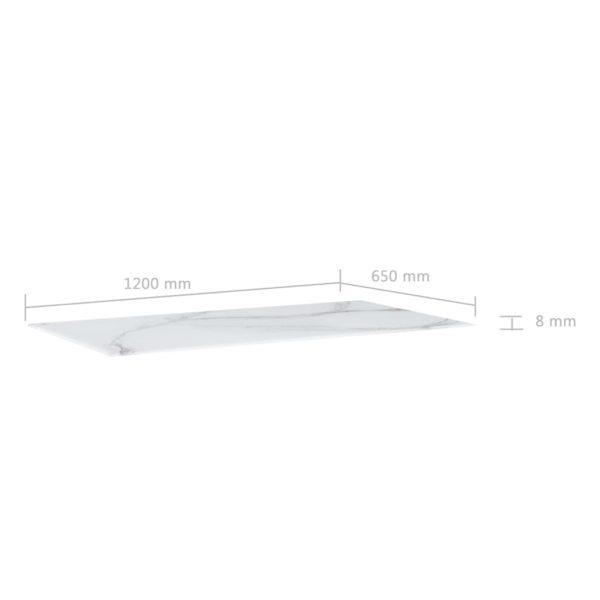 Tischplatte Weiß Rechteckig 120×65 cm Glas in Marmoroptik