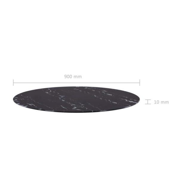 Tischplatte Schwarz Ø90 cm Glas in Marmoroptik