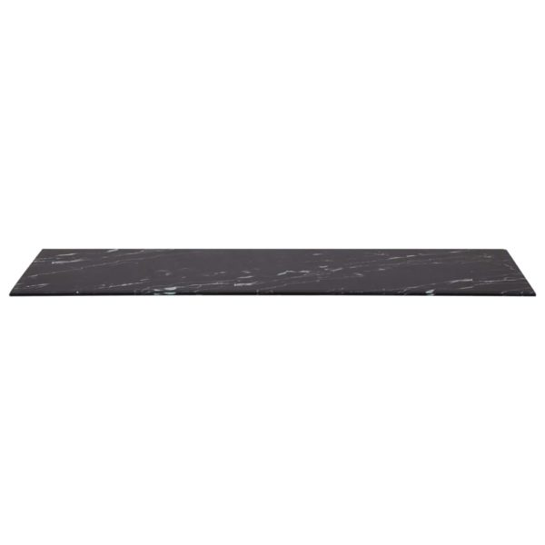 Tischplatte Schwarz Rechteckig 100×62 cm Glas in Marmoroptik