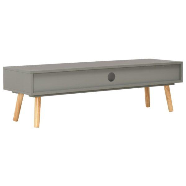 TV-Schrank Grau 120 x 35 x 35 cm Massivholz Kiefer