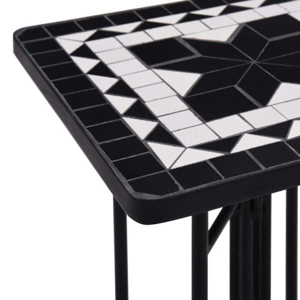 Mosaik-Beistelltisch Schwarz und Weiß Keramik