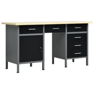 Arbeitstisch Schwarz 160 x 60 x 85 cm Stahl