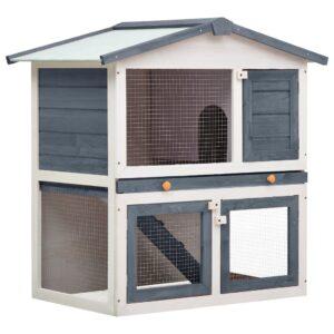 Kaninchenstall 3 Türen Grau Holz
