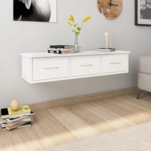 Wand-Schubladenregal Weiß 90×26×18,5 cm Spanplatte