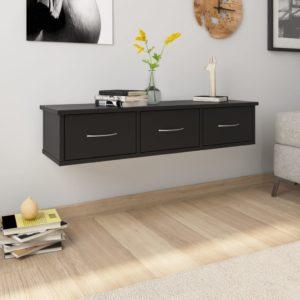 Wand-Schubladenregal Schwarz 90×26×18,5 cm Spanplatte