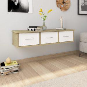 Wand-Schubladenregal Weiß Sonoma-Eiche 90×26×18,5 cm Spanplatte