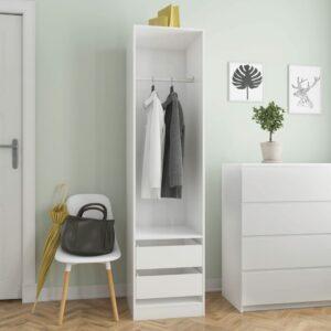 Kleiderschrank mit Schubladen Hochglanz-Weiß 50×50×200 cm