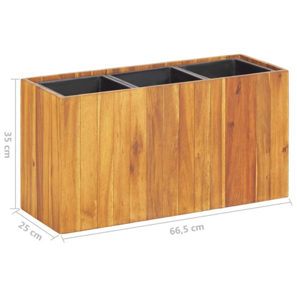 Garten-Hochbeet mit 3 Töpfen Massivholz Akazie