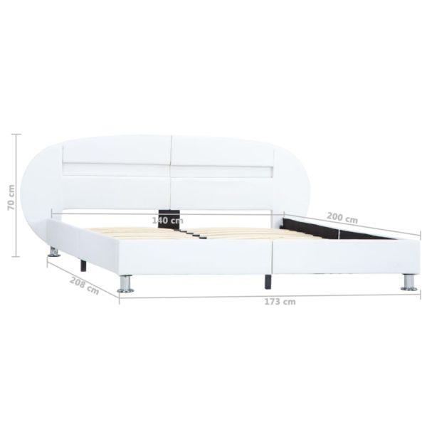 Bettgestell mit LED Weiß Kunstleder 140×200 cm