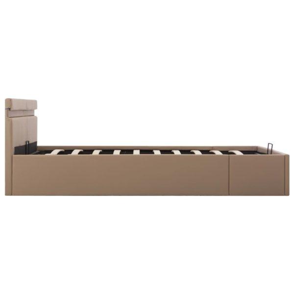 Stauraumbett mit LED Cappuccino-Braun Kunstleder 160×200cm