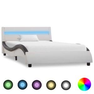 Bettgestell mit LED Weiß und Schwarz Kunstleder 100 x 200 cm