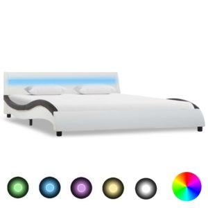 Bettgestell mit LED Weiß und Schwarz Kunstleder 140 x 200 cm