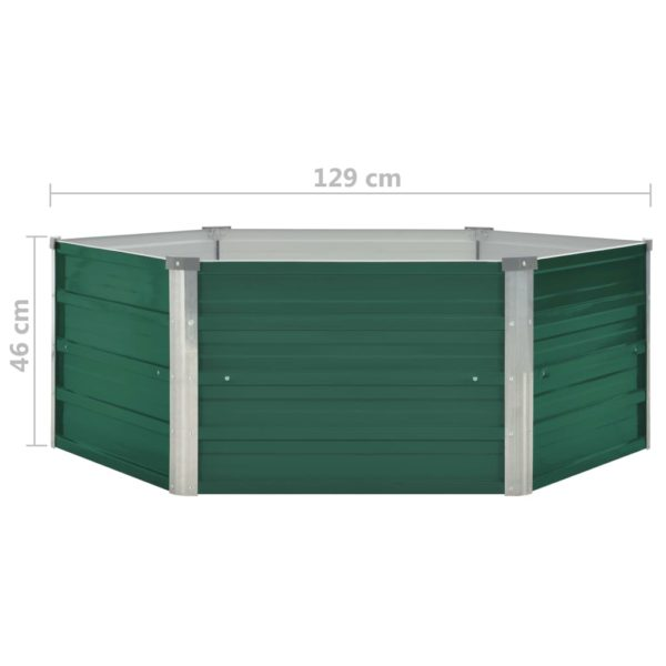 Hochbeet 129 x 129 x 46 cm Verzinkter Stahl Grün