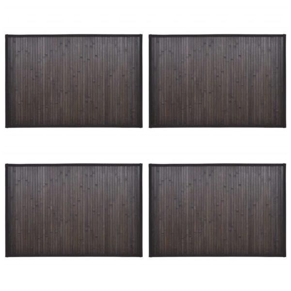 Bambus-Badematten 4 Stk. 40×50 cm Dunkelbraun