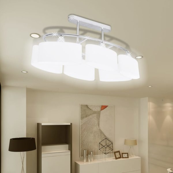 Deckenlampe mit ellipsenförmigen Glasschirmen 2 Stk. E14