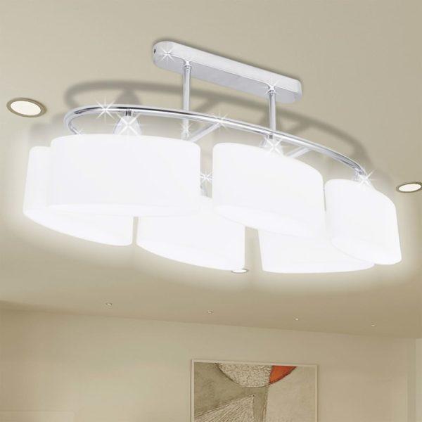 Deckenlampe mit ellipsenförmigen Glasschirmen 4 Stk. E14