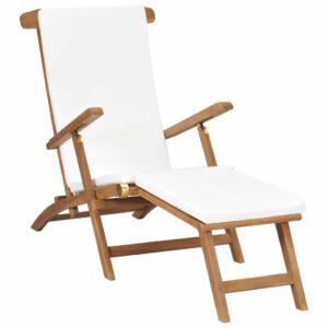 Liegestuhl mit Auflage Cremeweiß Massivholz Teak