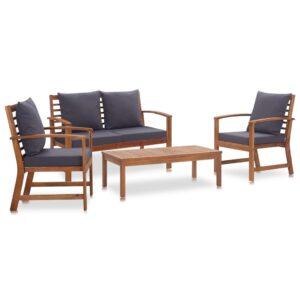 Garten-Lounge-Set mit Auflagen 4-tlg. Massivholz Akazie