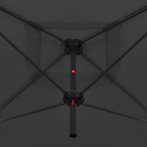 Doppelsonnenschirm mit Stahlmast 250×250 cm Anthrazit