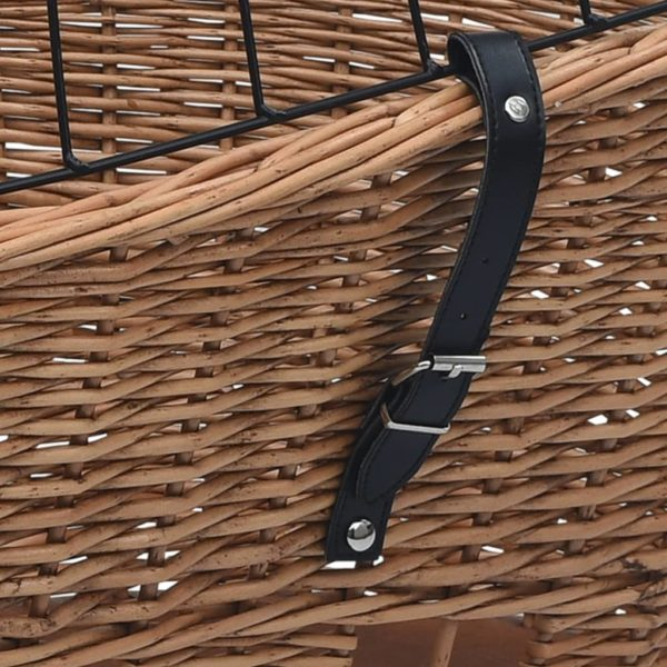 Fahrrad-Gepäckträgerkorb mit Abdeckung 55×31×36 cm Naturweide