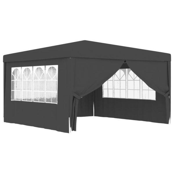 Profi-Partyzelt mit Seitenwänden 4×4 m Anthrazit 90 g/m²