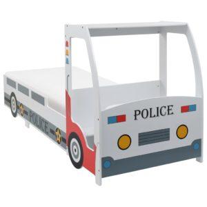 Polizeiauto-Kinderbett mit Matratze 90×200 cm 7 Zone H2 H3