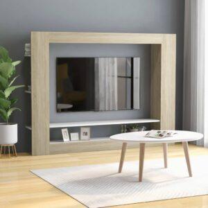 TV-Schrank Weiß Sonoma-Eiche 152x22x113 cm Spanplatte