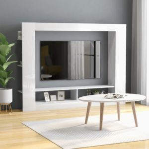 TV-Schrank Hochglanz-Weiß 152 x 22 x 113 cm Spanplatte