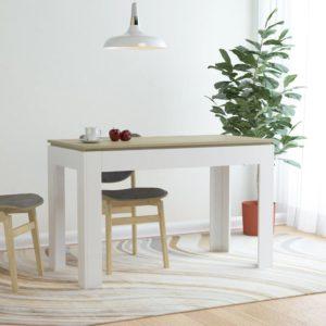 Esstisch Weiß und Sonoma-Eiche 120 x 60 x 76 cm Spanplatte
