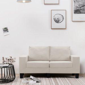 2-Sitzer-Sofa Cremeweiß Stoff