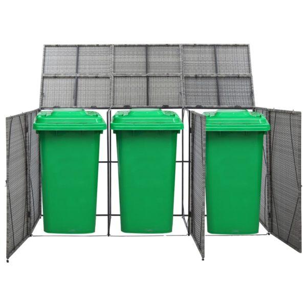 Mülltonnenbox für 3 Tonnen Anthrazit 229x78x120 cm Poly Rattan