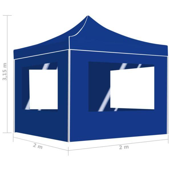 Profi-Partyzelt Faltbar mit Wänden Aluminium 2×2m Blau