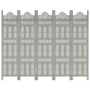 5tlg. Raumteiler Handgeschnitzt Grau 200×165cm Mango Massivholz