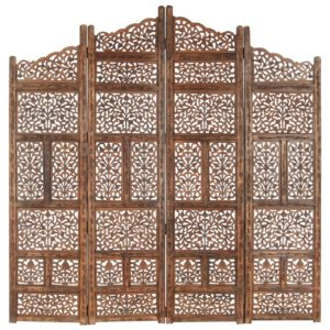 4-tlg. Raumteiler Handgeschnitzt Braun 160×165 cm Mangoholz