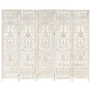 5tlg. Raumteiler Handgeschnitzt Weiß 200×165cm Mango Massivholz