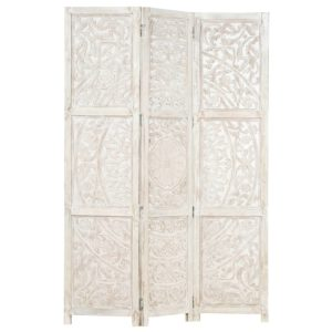 3tlg. Raumteiler Handgeschnitzt Weiß 120×165cm Mango Massivholz