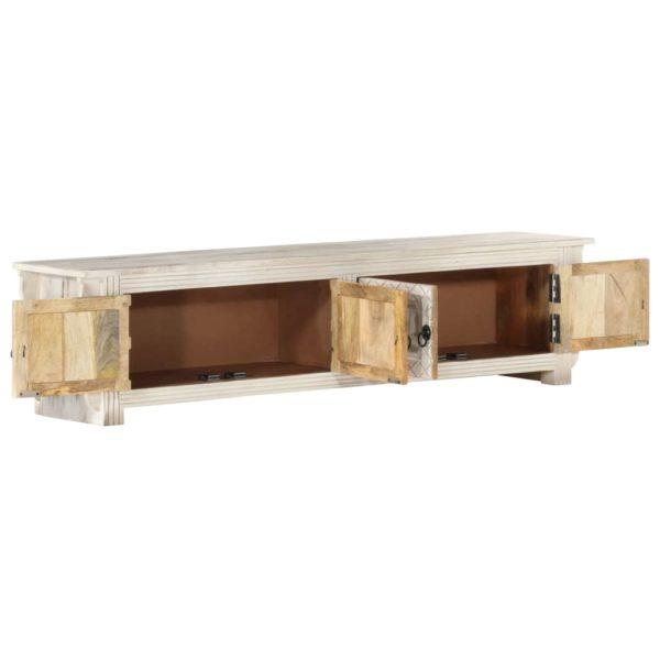 TV-Schrank Weiß 140 x 30 x 35 cm Massivholz Mango
