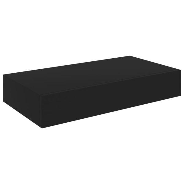 Schweberegal mit Schublade Schwarz 48 x 25 x 8 cm