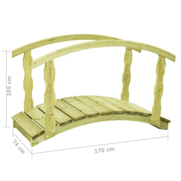 Gartenbrücke mit Geländer 170×74×105 cm Kiefernholz Imprägniert