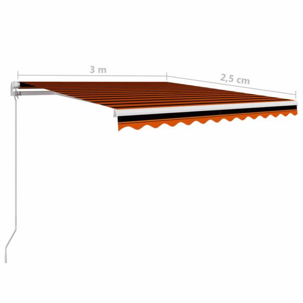 Einziehbare Markise Handbetrieben 300 x 250 cm Orange und Braun