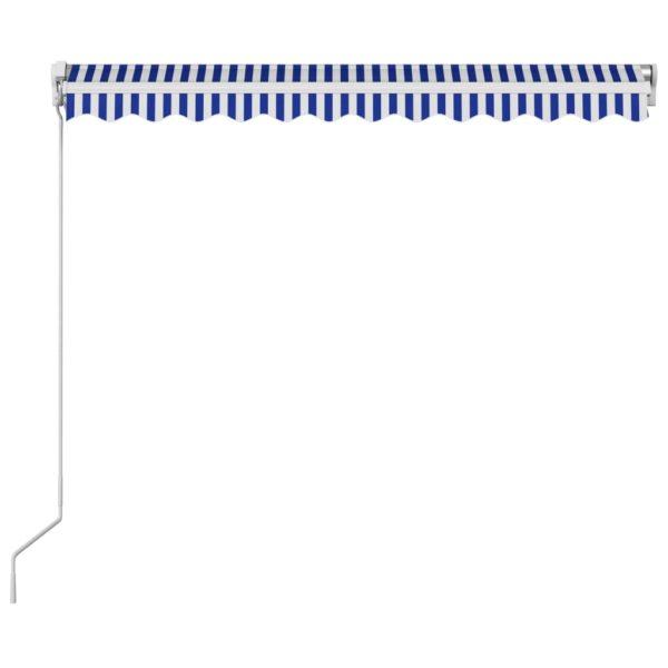 Einziehbare Markise Handbetrieben 350 x 250 cm Blau und Weiß