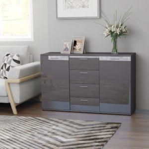 Sideboard Hochglanz-Grau 120×35,5×75 cm Spanplatte