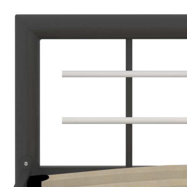 Bettgestell Grau und Weiß Metall 90×200 cm