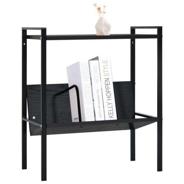 Bücherregal mit 2 Regalböden Schwarz 52×28×59 cm Spanplatte