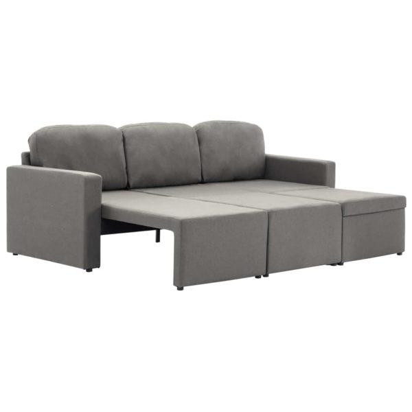 Modulares 3-Sitzer-Schlafsofa Taupe Stoff
