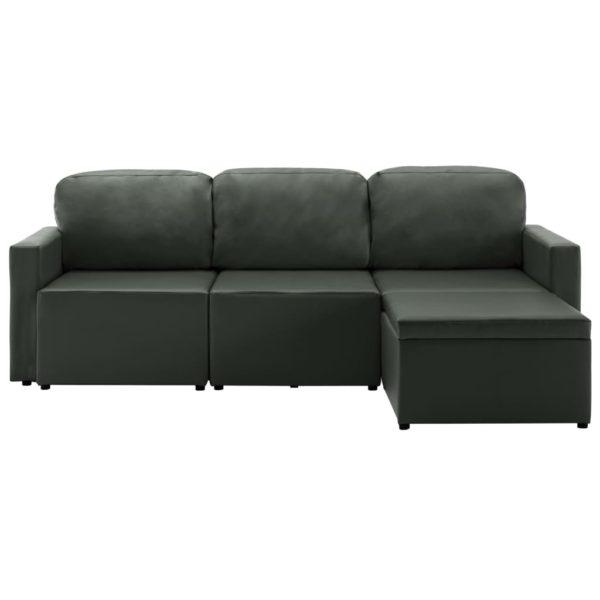 Modulares 3-Sitzer Schlafsofa Grau Kunstleder
