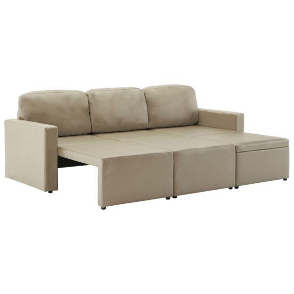 Modulares 3-Sitzer Schlafsofa Cappuccino-Braun Kunstleder